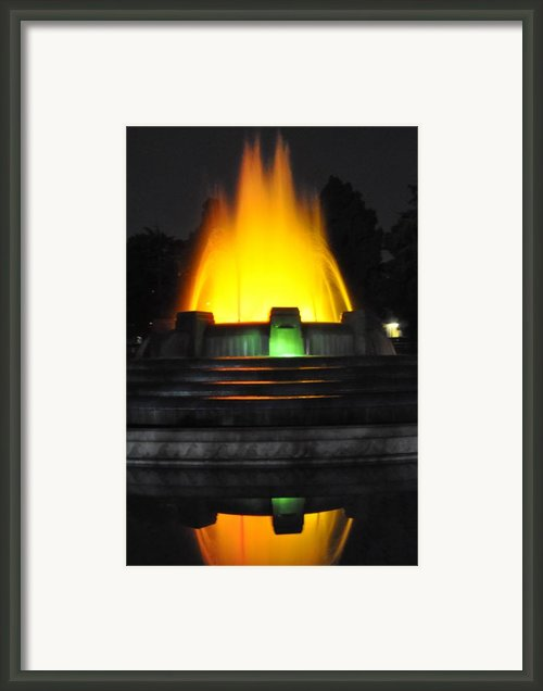 Mulholland Fountain Reflection Framed Print By Clayton Bruster