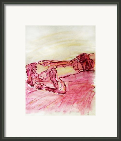 Sleeping Beauty Figure Sketch In Yellow Purple Lying On Couch Nude Arched Back And Muscled Arms Framed Print By M Zimmerman