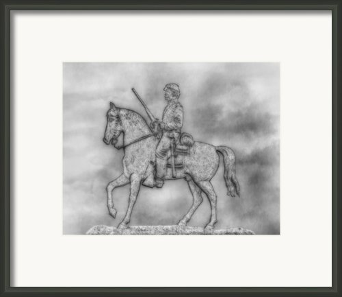 Stone Sentinel Gettysburg Battlefield Sketch Framed Print By Randy Steele