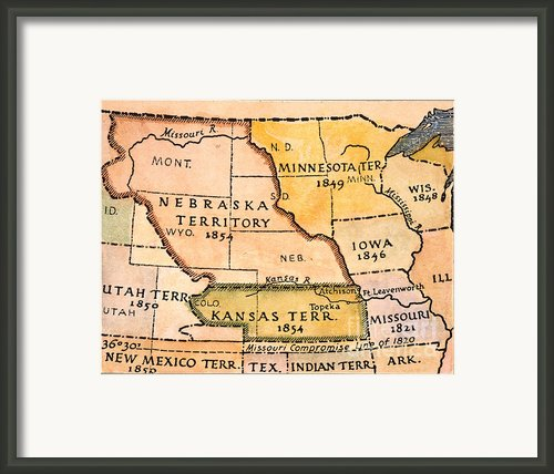 Kansas-nebraska Map, 1854 Framed Print By Granger