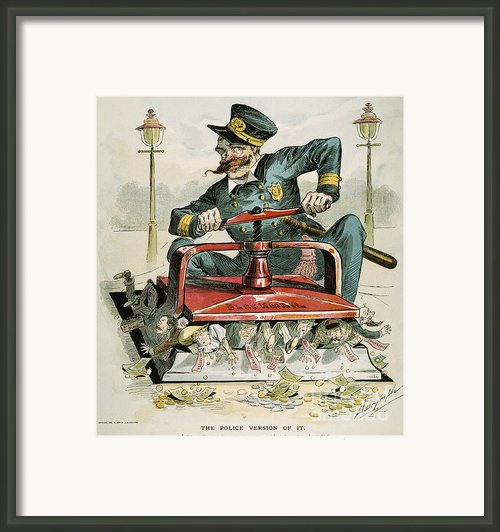 Police Corruption Cartoon Framed Print By Granger