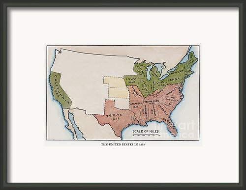 United States Map, 1854 Framed Print By Granger