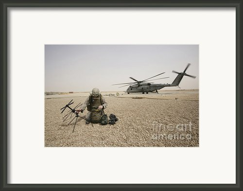 A Field Radio Operator Sets Framed Print By Stocktrek Images
