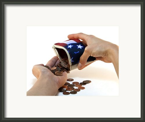 American Flag Wallet With Coins And Hands Framed Print By Blink Images