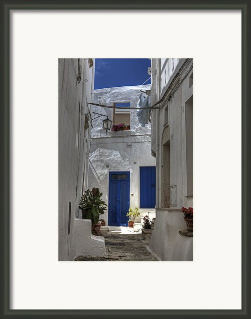 Apulia - Blue-white Framed Print By Joana Kruse