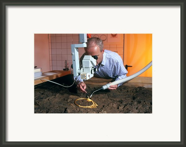 Archaeologist Cleaning A Golden Celtic Necklace Framed Print By Volker Steger