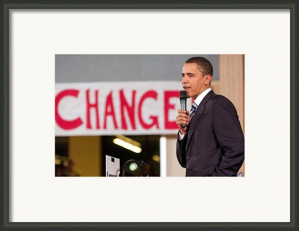 Barack Obama On Stage For Barack Obama Framed Print By Everett