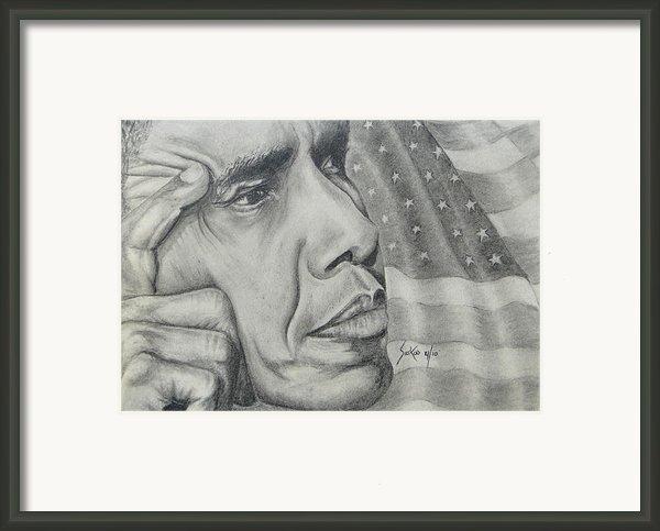 Barack Obama Framed Print By Stephen Sookoo