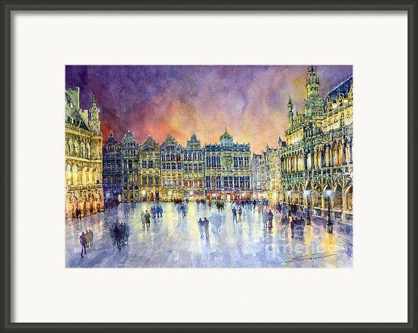 Belgium Brussel Grand Place Grote Markt Framed Print By Yuriy  Shevchuk