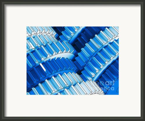Blue Gear Framed Print By Gualtiero Boffi