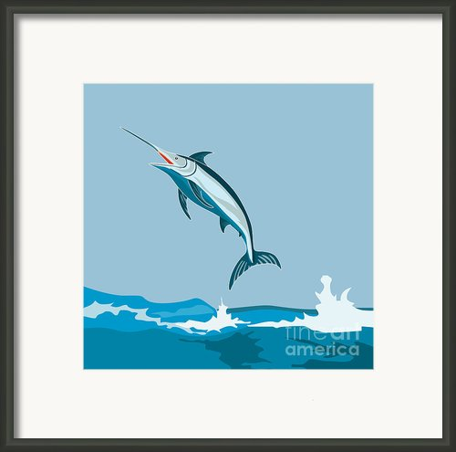 Blue Marlin Fish Jumping Retro Framed Print By Aloysius Patrimonio