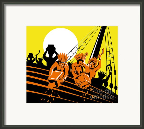 Boston Tea Party Raiders Retro Framed Print By Aloysius Patrimonio