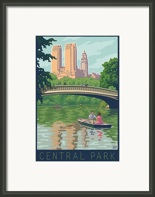 Bow Bridge In Central Park Framed Print By Mitch Frey