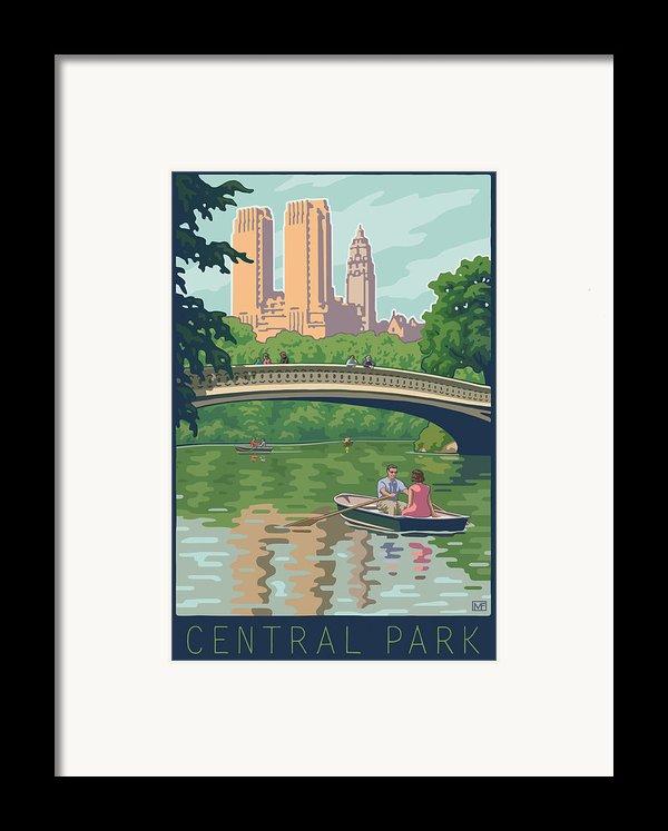 Bow Bridge In Central Park Framed Print By Mitch Frey