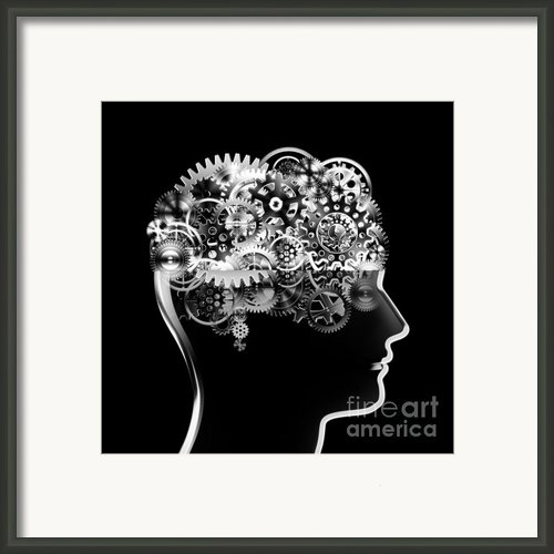 Brain Design By Cogs And Gears Framed Print By Setsiri Silapasuwanchai
