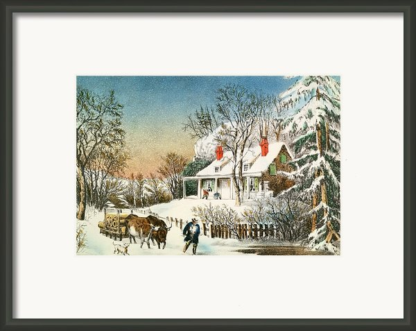 Bringing Home The Logs Framed Print By Currier And Ives