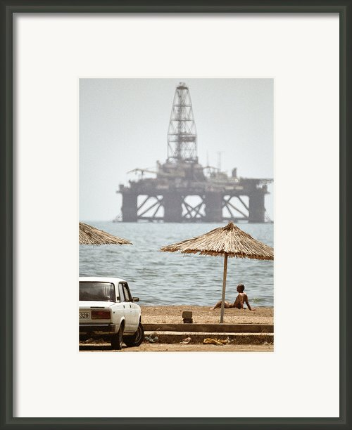 Caspian Sea Oil Rig Framed Print By Ria Novosti
