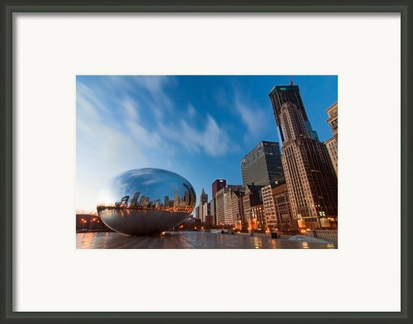 Chicago Skyline And Bean At Sunrise Framed Print By Sven Brogren
