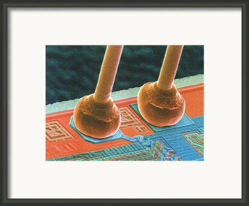 Coloured Sem Of Integrated Circuit Micro-wires. Framed Print By Power And Syred