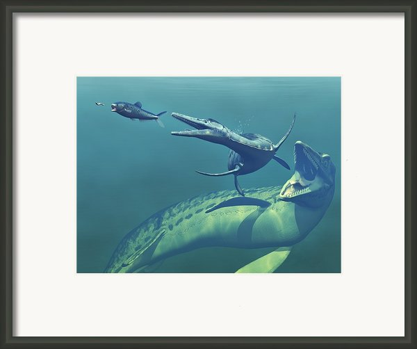 Cretaceous Marine Predators, Artwork Framed Print By Walter Myers