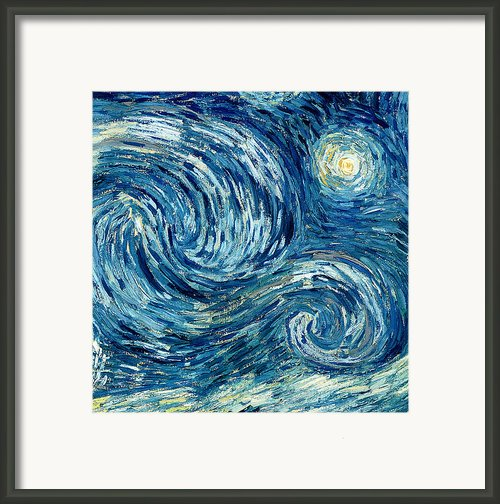 Detail Of The Starry Night Framed Print By Vincent Van Gogh