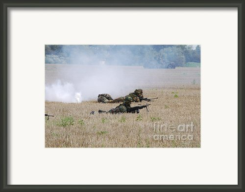 Evacuation Of A Wounded Soldier By An Framed Print By Luc De Jaeger