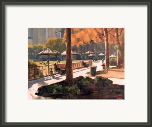 Fall In Bryant Park Framed Print By Tate Hamilton
