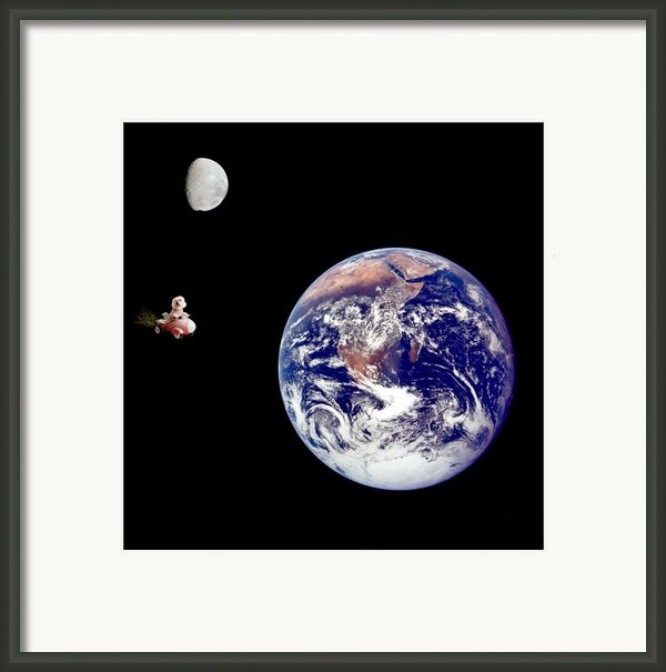 Fifi Goes To The Moon Framed Print By Michael Ledray