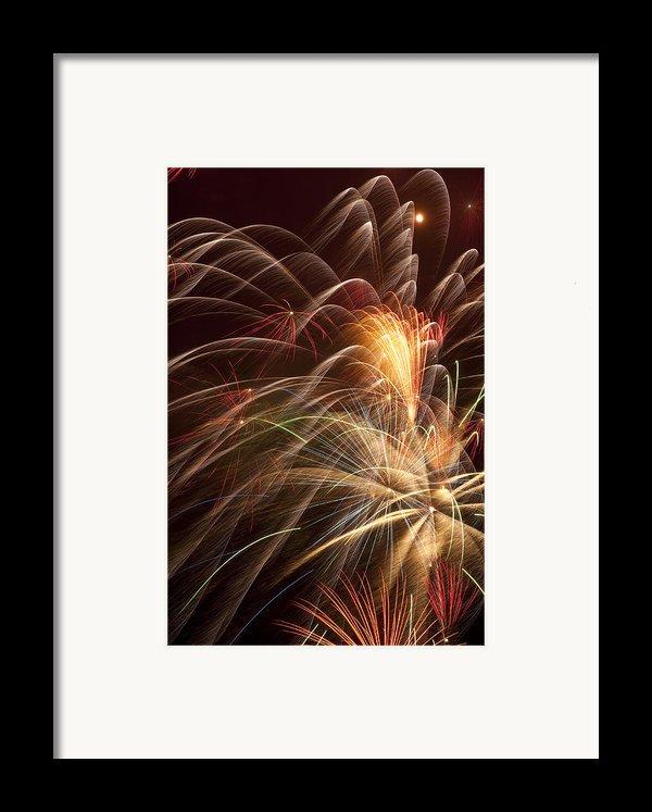 Fireworks In Night Sky Framed Print By Garry Gay