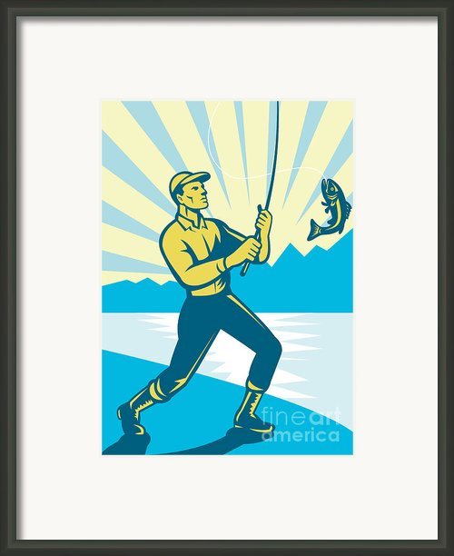 Fly Fisherman Fishing Retro Woodcut Framed Print By Aloysius Patrimonio