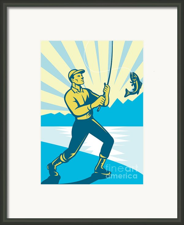 Fly Fisherman Fishing Retro Woodcut Framed Print By Aloysius Patrimonio