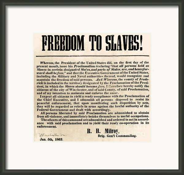 Freedom To Slaves Framed Print By Photo Researchers, Inc.