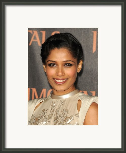 Freida Pinto At Arrivals For Immortals Framed Print By Everett