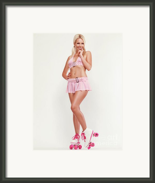 Glamorous Girl On Roller Skates Framed Print By Oleksiy Maksymenko