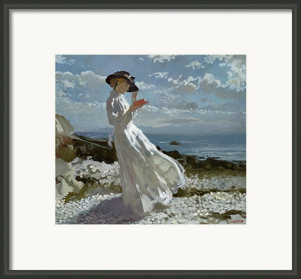 Grace Reading At Howth Bay Framed Print By Sir William Orpen