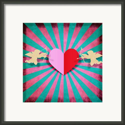Heart And Cupid On Paper Texture Framed Print By Setsiri Silapasuwanchai