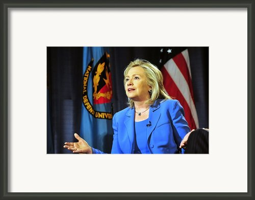 Hillary Clinton, Us Secretary Of State Framed Print By Everett