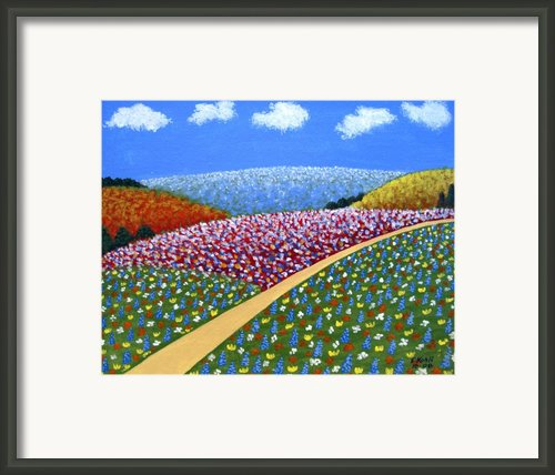 Hills Of Flowers Framed Print By Frederic Kohli