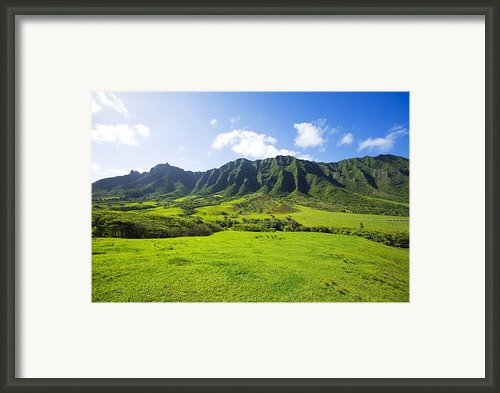 Kaaawa Valley And Kualoa Ranch Framed Print By Dana Edmunds - Printscapes