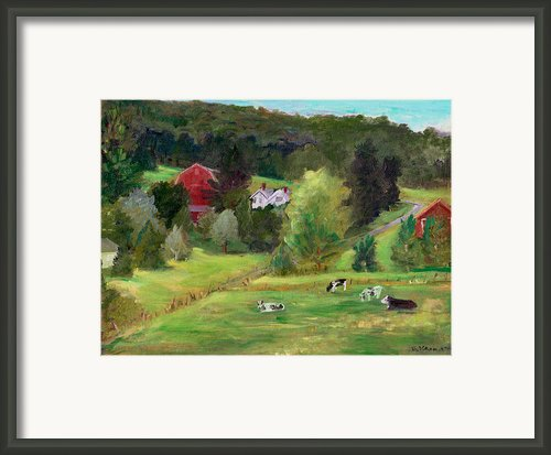 Landscape With Cows Framed Print By Ethel Vrana