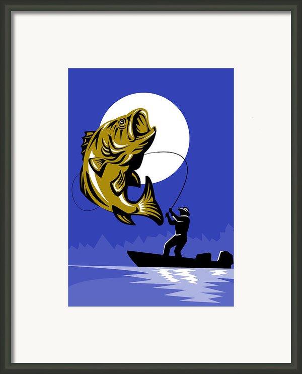Largemouth Bass Fish And Fly Fisherman Framed Print By Aloysius Patrimonio