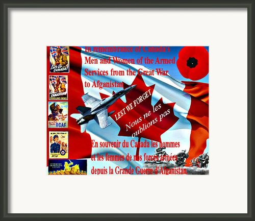 Lest We Forget Canada Framed Print By Garry Staranchuk
