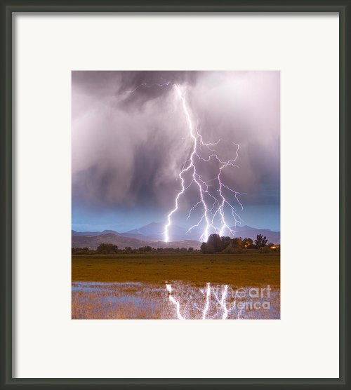Lightning Striking Longs Peak Foothills 6 Framed Print By James Bo Insogna