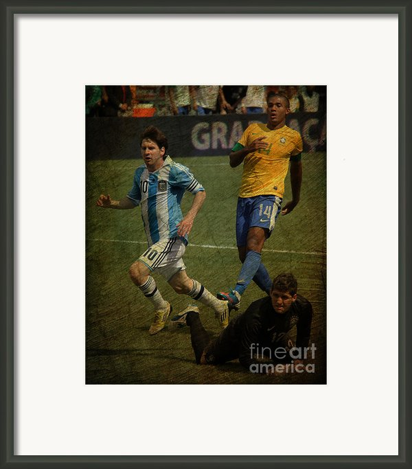 Lionel Messi Breaking Raphael Cabrals Ankles Ii Framed Print By Lee Dos Santos