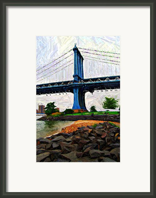 Manhattan Bridge Beach Sketch Framed Print By Randy Aveille