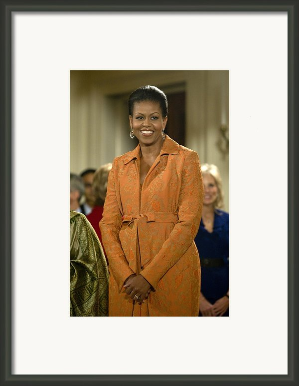 Michelle Obama At A Public Appearance Framed Print By Everett