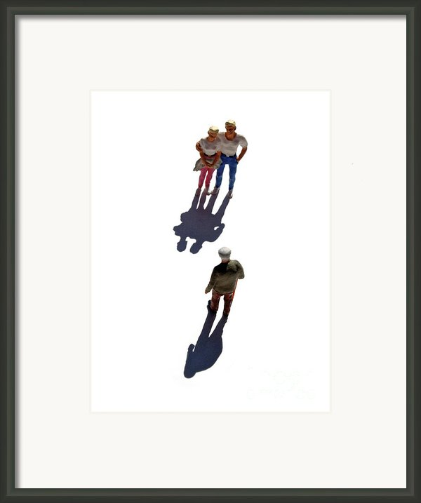 Miniature Figurines Couple Watching Elderly Man Framed Print By Bernard Jaubert