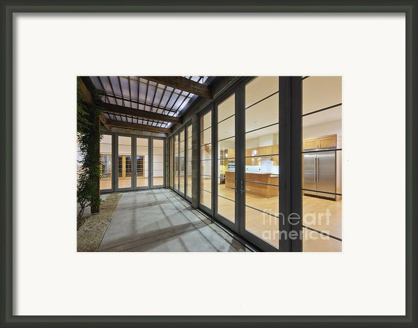 Modern Home Kitchen Through Glass Doors Framed Print By Jeremy Woodhouse