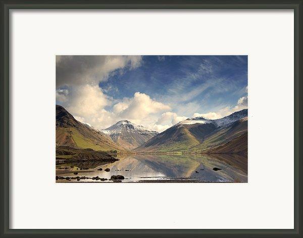 Mountains And Lake At Lake District Framed Print By John Short