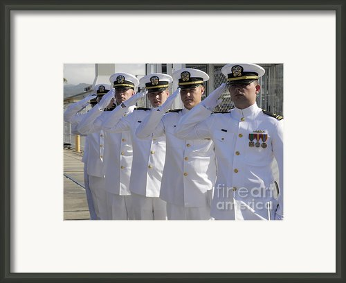 Officers Render Honors During A Change Framed Print By Stocktrek Images